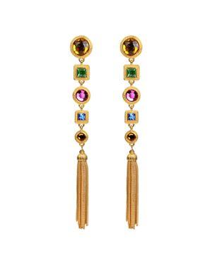 Multicolor Crystal Long Drop Clip Earrings, Multi/Gold