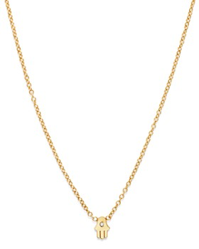 Zoë Chicco - 14K Yellow Gold Itty Bitty Hamsa Diamond Necklace, 16""