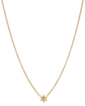 Zoë Chicco - 14K Yellow Gold Itty Bitty Star of David Necklace, 16""