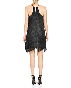 HALSTON HERITAGE - Tiered Fringed Slip Dress