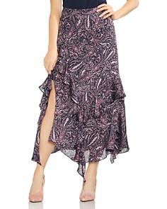 VINCE CAMUTO - Asymmetric Tiered Ruffle Paisley Skirt
