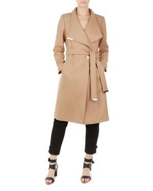 Sandra Long Wool Wrap Coat - Tan, Camel