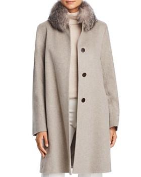Maximilian Furs - Fleurette Fox Fur Collar Wool Coat
