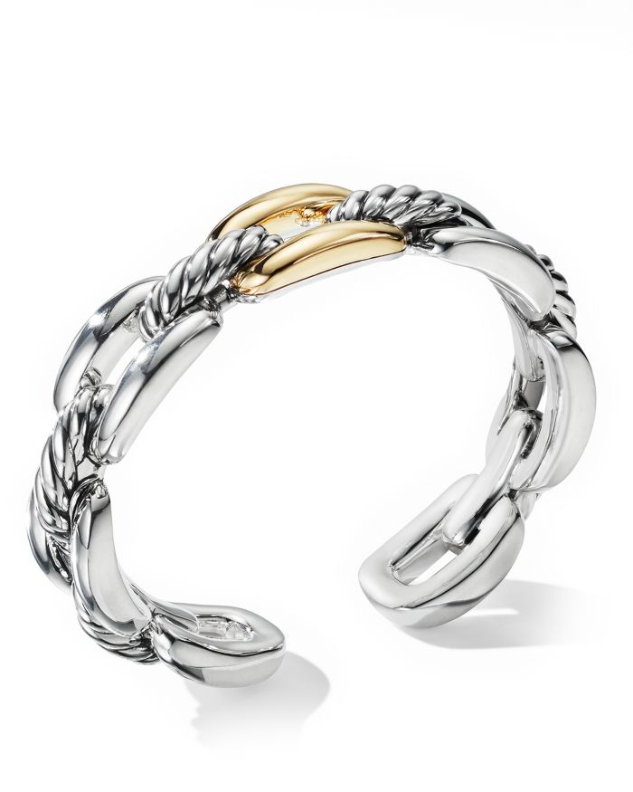 David Yurman Wellesley Link Single Stack Bracelet in Sterling Silver with 18K Yellow Gold  | Bloomingdale's