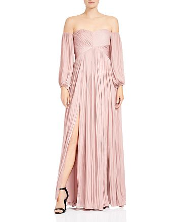 HALSTON HERITAGE - Pleated Off-the-Shoulder Gown