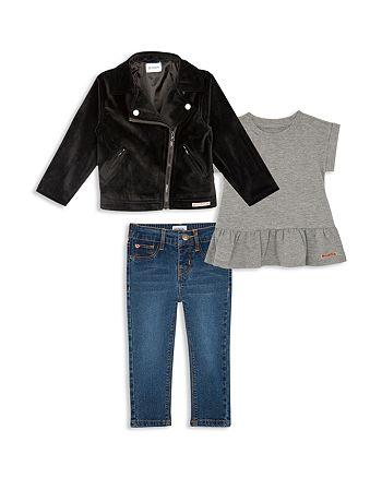 41eaae41601 Hudson - Girls' Velvet Moto Jacket, Ruffled Tee & Jeans Set - Little Kid