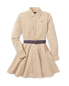 Ralph Lauren - Girls' Chino Shirt Dress with Belt - Big Kid