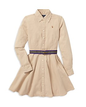 Ralph Lauren - Girls' Chino Shirt Dress with Belt - Little Kid, Big Kid