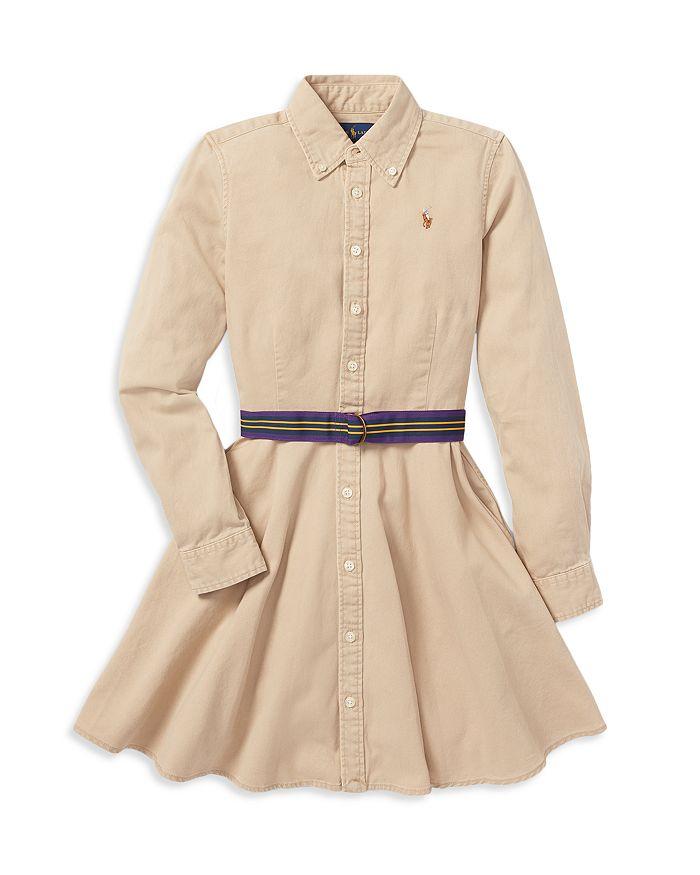 Ralph Lauren - Girls' Chino Shirt Dress with Belt - Little Kid, Big Kid