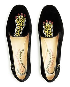 Charlotte Olympia - Women's Wild Embellished Velvet Smoking Slipper Flats