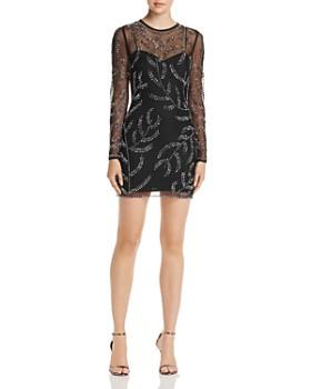 AQUA - Embellished Sweetheart Illusion Dress - 100% Exclusive