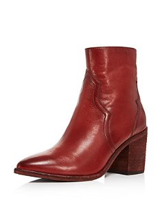 Frye - Women's Flynn Leather Western Block-Heel Booties