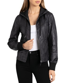 BAGATELLE.CITY - Leather Hooded Jacket