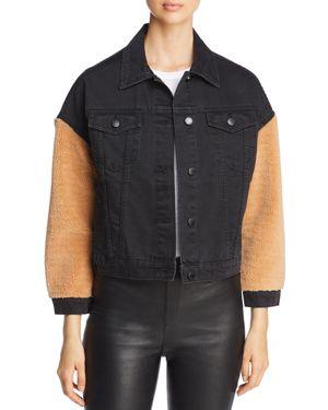 VELVET HEART Berry Faux-Shearling Sleeve Denim Jacket in Black