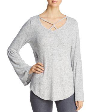ALISON ANDREWS Crisscross Bell-Sleeve Top in Gray/White