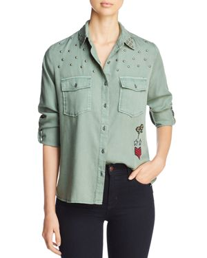 Embroidered & Studded Military Shirt, Forest W/ Embroidery