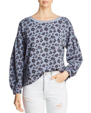 BILLY T Blouson-Sleeve Animal Print Sweatshirt in Gray Animal