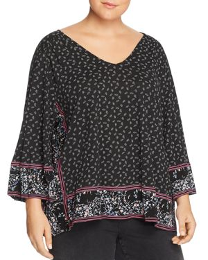 Lucky Brand Plus Printed & Draped Top