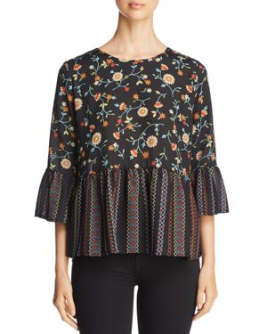 STATUS BY CHENAULT Status By Chenault Floral Print Ruffle-Trim Top in Multi