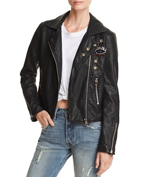 AQUA - Embellished Faux Leather Moto Jacket - 100% Exclusive