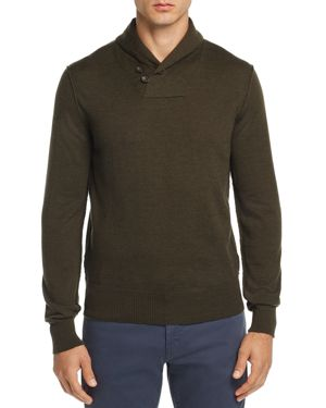 OOBE Fulton Shawl-Collar Pullover Sweater in Olive