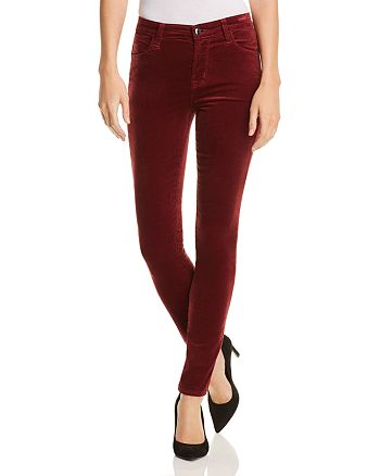 J Brand - Maria Velvet Skinny Jeans in Oxblood