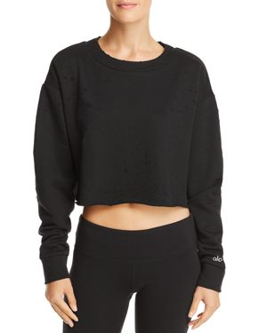 ALO YOGA Fierce Distressed Crewneck Cropped Pullover Sweatshirt in Black