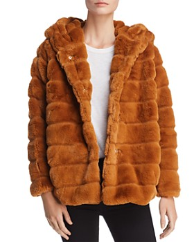 Apparis - Goldie Banded Hooded Faux-Fur Coat