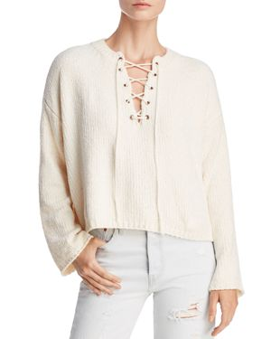 SADIE & SAGE Cropped Lace-Up Sweater in Ivory