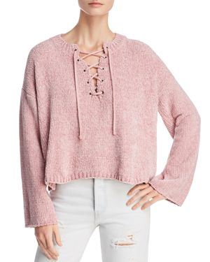 SADIE & SAGE Cropped Lace-Up Sweater in Dusty Pink