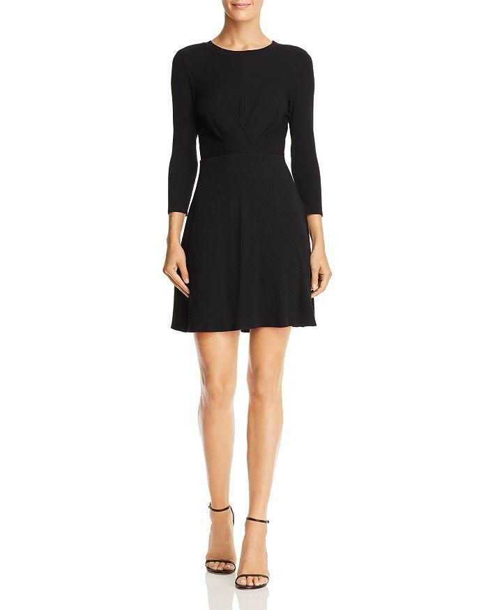 AQUA - Gathered Rib-Knit Fit-and-Flare Dress - 100% Exclusive