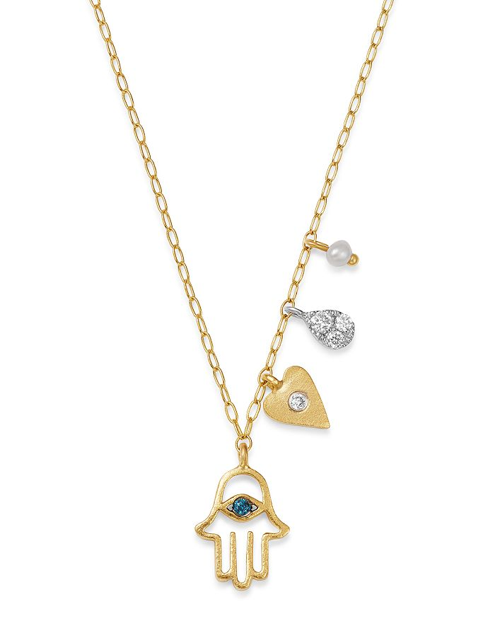 """Meira T - 14K Yellow Gold & 14K White Gold Diamond & Freshwater Seed Pearl Hamsa & Heart Charm Adjustable Pendant Necklace, 18"""""""