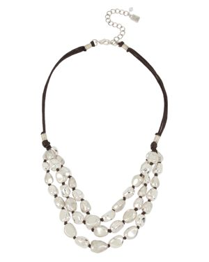 """ROBERT LEE MORRIS SOHO Silver-Tone Bead & Wax Cord Multi-Row Statement Necklace, 18"""" + 3"""" Extender in Soft Silver"""
