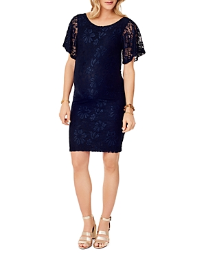 Ingrid & Isabel Flutter-Sleeve Lace Maternity Dress
