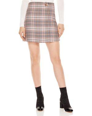 Power Plaid Toggle Mini Skirt, Multi/ Color