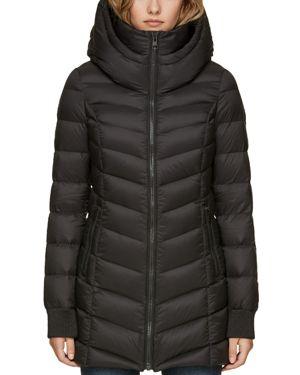 SOIA & KYO Lightweight Down Coat in Black