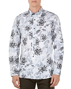 Ted Baker - Maize Rose & Dot Leaf Print Button-Down Shirt