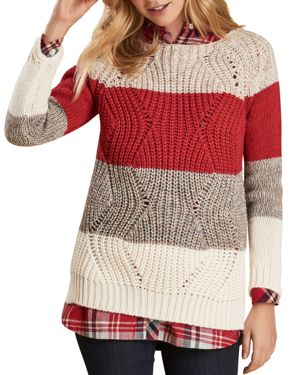 BARBOUR Padstow Knit Pullover Sweater in Red