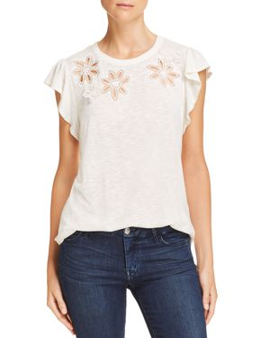 Rebecca Taylor Emilie Floral-Embroidered Jersey Top