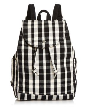 BAGGU Medium Plaid Canvas Backpack in Black/White Plaid/Silver
