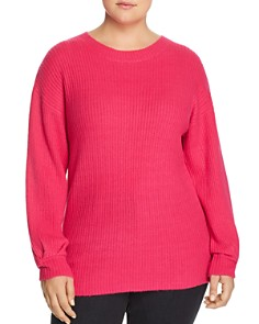 GLAMOROUS CURVY - Ribbed Pleat-Cuff Sweater