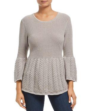 HEATHER B Mixed Stitch Sweater in Marled Gray
