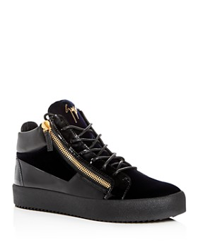Giuseppe Zanotti - Men's Velvet & Patent Leather Mid Top Sneakers