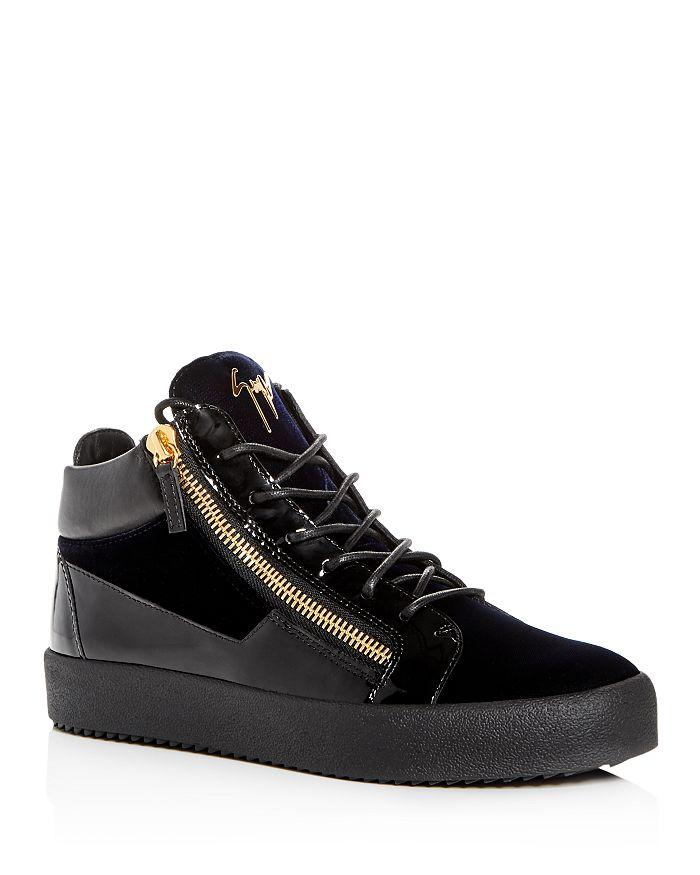 Giuseppe Zanotti - Men's Velvet & Patent Leather Mid Top Sneakers