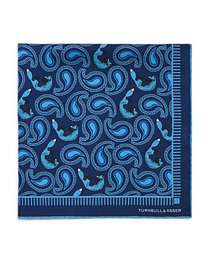 Turnbull & Asser Paisley Foxes Silk Pocket Square