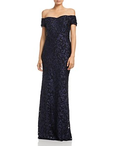 Laundry by Shelli Segal - Off-the-Shoulder Scroll Lace Gown - 100% Exclusive