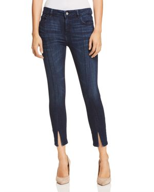Florence Cropped Mid-Rise Skinny Jeans With Split Hem, Aldridge