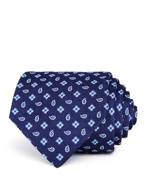 TURNBULL & ASSER Neat Pine Squares Silk Classic Tie in Navy