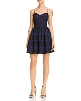 AQUA - Bonded Lace Fit-and-Flare Dress - 100% Exclusive