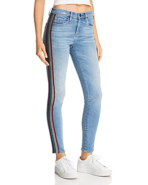 Blanknyc Glitter-Striped High-Rise Skinny Jeans in Retrograde